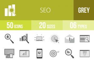 50 SEO Greyscale Icons - Overview - IconBunny