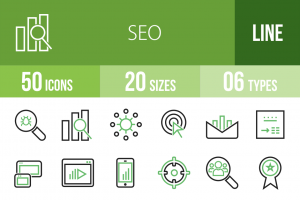50 SEO Line Green & Black Icons - Overview - IconBunny