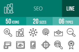 50 SEO Line Icons - Overview - IconBunny