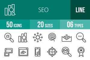 50 SEO Line Icons - Overview - IconBunny