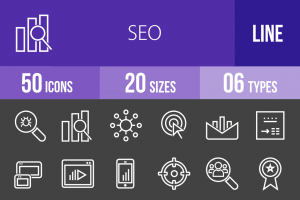 50 SEO Line Inverted Icons - Overview - IconBunny