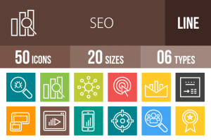 50 SEO Line Multicolor B/G Icons - Overview - IconBunny