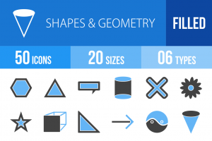50 Shapes & Geometry Blue & Black Icons - Overview - IconBunny