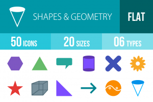 50 Shapes & Geometry Flat Multicolor Icons - Overview - IconBunny