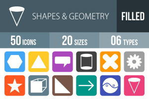 50 Shapes & Geometry Flat Round Corner Icons - Overview - IconBunny