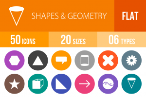 50 Shapes & Geometry Flat Round Icons - Overview - IconBunny
