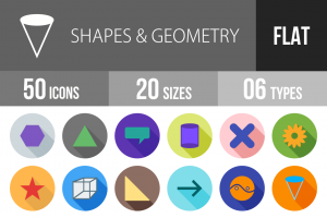 50 Shapes & Geometry Flat Shadowed Icons - Overview - IconBunny
