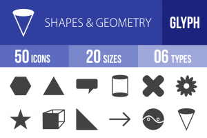 50 Shapes & Geometry Glyph Icons - Overview - IconBunny