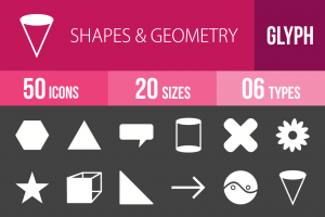 50 Shapes & Geometry Glyph Inverted Icons - Overview - IconBunny