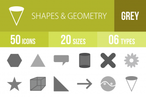 50 Shapes & Geometry Greyscale Icons - Overview - IconBunny