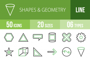 50 Shapes & Geometry Line Green & Black Icons - Overview - IconBunny