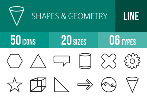 50 Shapes & Geometry Line Icons - Overview - IconBunny