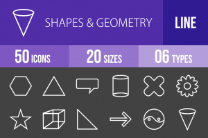 50 Shapes & Geometry Line Inverted Icons - Overview - IconBunny