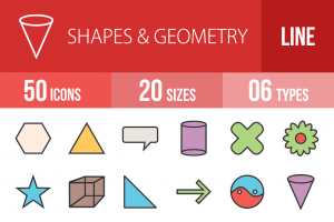 50 Shapes & Geometry Line Multicolor Filled Icons - Overview - IconBunny