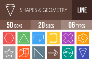 50 Shapes & Geometry Line Multicolor B/G Icons - Overview - IconBunny