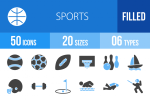 50 Sports Blue & Black Icons - Overview - IconBunny