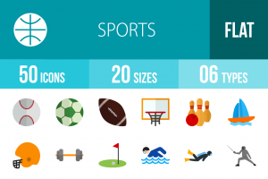 50 Sports Flat Multicolor Icons - Overview - IconBunny