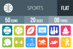 50 Sports Flat Round Corner Icons - Overview - IconBunny