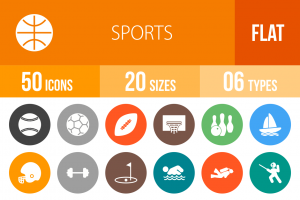 50 Sports Flat Round Icons - Overview - IconBunny