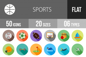50 Sports Flat Shadowed Icons - Overview - IconBunny