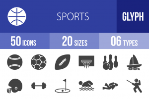 50 Sports Glyph Icons - Overview - IconBunny