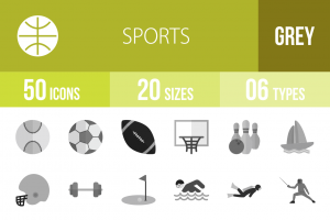 50 Sports Greyscale Icons - Overview - IconBunny