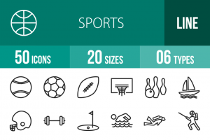 50 Sports Line Icons - Overview - IconBunny