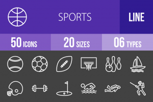 50 Sports Line Inverted Icons - Overview - IconBunny