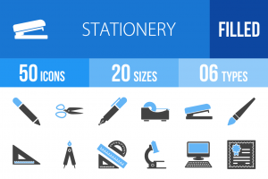 50 Stationery Blue Black Icons - Overview - IconBunny