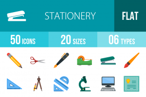 50 Stationery Flat Multicolor Icons - Overview - IconBunny