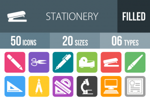 50 Stationery Flat Round Corner Icons - Overview - IconBunny