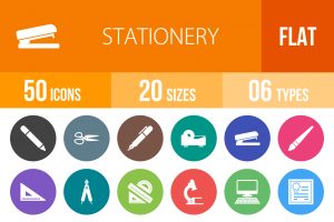 50 Stationery Flat Round Icons - Overview - IconBunny