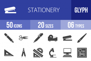 50 Stationery Glyph Icons - Overview - IconBunny