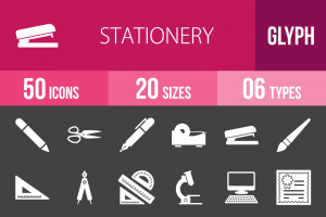 50 Stationery Glyph Inverted Icons - Overview - IconBunny