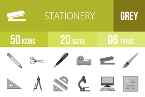 50 Stationery Greyscale Icons - Overview - IconBunny