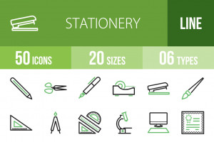 50 Stationery Line Green Black Icons - Overview - IconBunny