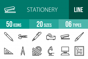 50 Stationery Line Icons - Overview - IconBunny