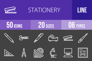 50 Stationery Line Inverted Icons - Overview - IconBunny
