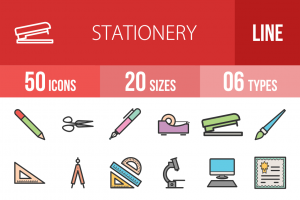 50 Stationery Line Multicolor Filled Icons - Overview - IconBunny