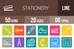 50 Stationery Line Multicolor B/G Icons - Overview - IconBunny