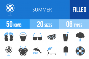 50 Summer Blue & Black Icons - Overview - IconBunny