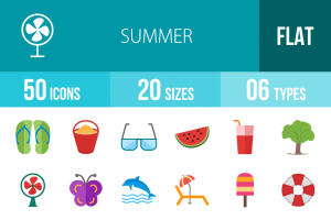 50 Summer Flat Multicolor Icons - Overview - IconBunny