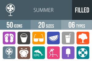 50 Summer Flat Round Corner Icons - Overview - IconBunny