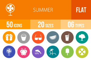 50 Summer Flat Round Icons - Overview - IconBunny