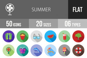 50 Summer Flat Shadowed Icons - Overview - IconBunny