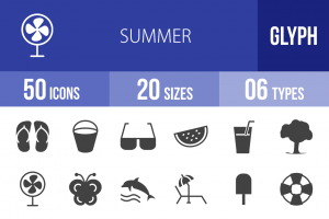 50 Summer Glyph Icons - Overview - IconBunny
