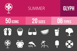 50 Summer Glyph Inverted Icons - Overview - IconBunny