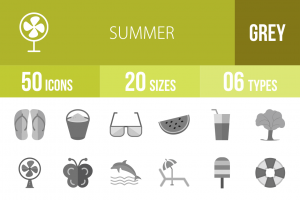 50 Summer Greyscale Icons - Overview - IconBunny