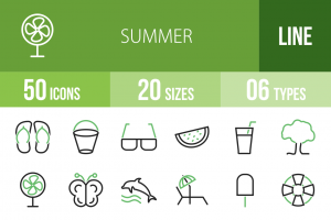50 Summer Line Green & Black Icons - Overview - IconBunny