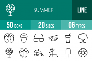 50 Summer Line Icons - Overview - IconBunny